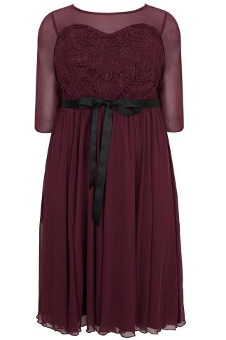 SCARLETT & JO Burgundy Mesh & Lace Dress With Waist Tie