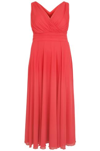 SCARLETT & JO Coral Marilyn Wrap Front Maxi Dress