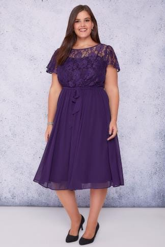 Midi Dresses SCARLETT & JO Dark Purple Midi Dress With Lace Top & Pleated Skirt 138723