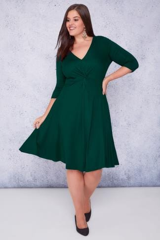 Midikleider SCARLETT & JO Green Jersey Midi Dress With Knot Front Detail 138721