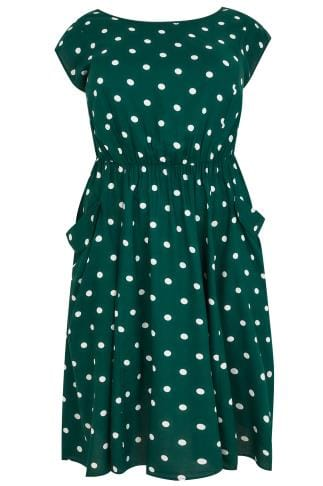 SCARLETT & JO Green & White Midi Dress With Pockets