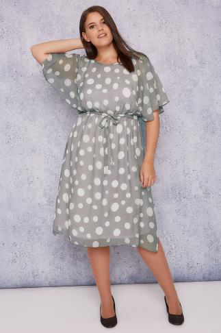 SCARLETT & JO Grey Polka Dot Chiffon Midi Dress With Angel Sleeves 138480