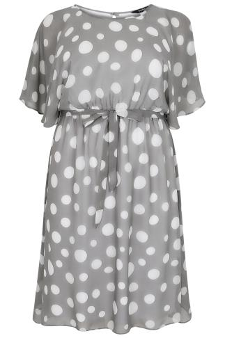 SCARLETT & JO Grey Polka Dot Chiffon Midi Dress With Angel Sleeves