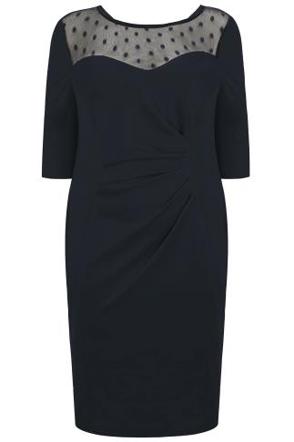 SCARLETT & JO Navy Bodycon Dress With Sweet Heart Neckline