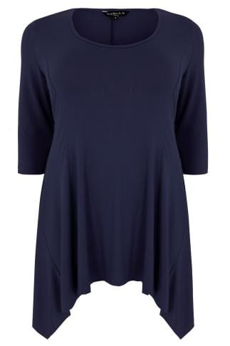 SCARLETT & JO Navy Jersey Peplum Top With Hanky Hem