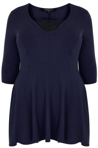 SCARLETT & JO Navy Jersey Peplum Top With Lace Trim