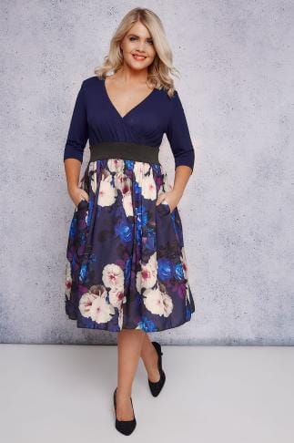 Party Dresses SCARLETT & JO Navy & Multi Floral Wrap Over 2 In 1 Dress 138712