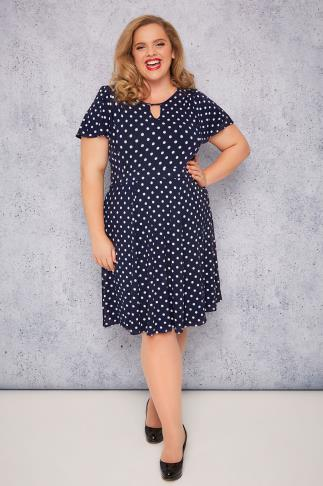 SCARLETT & JO Navy & White Polka Dot Dress With Keyhole Detail
