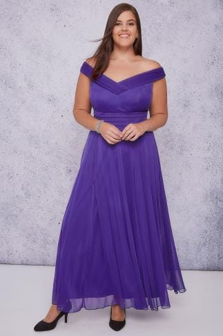 Maxi Dresses SCARLETT & JO Purple Bardot Sweetheart Layered Maxi Dress 138534