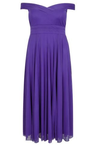 SCARLETT & JO Purple Bardot Sweetheart Layered Maxi Dress