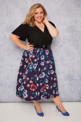 SCARLETT & JO Purple & Black Floral Print 2 in 1 Wrap Dress