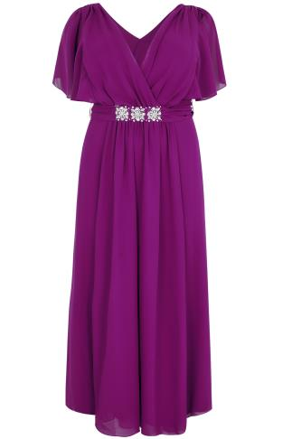 SCARLETT & JO Purple Chiffon Maxi Dress With Embellished Waist Tie