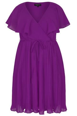 SCARLETT & JO Purple Chiffon Pleat Skirt Midi Dress With Cape Detail