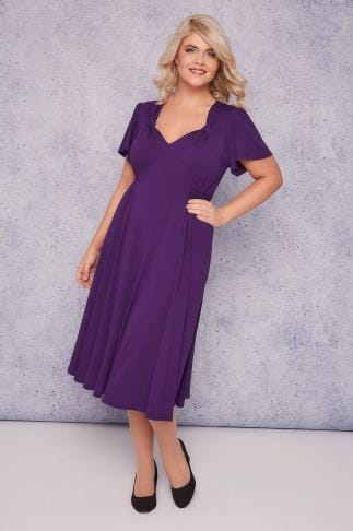 Midi Dresses SCARLETT & JO Purple Fit & Flare Dress With Waist Tie 138538