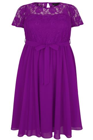 SCARLETT & JO Purple Midi Dress With Lace Top & Pleated Skirt