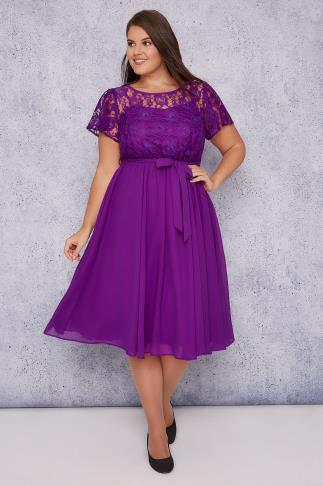 SCARLETT & JO Purple Midi Dress With Lace Top & Pleated Skirt 138413