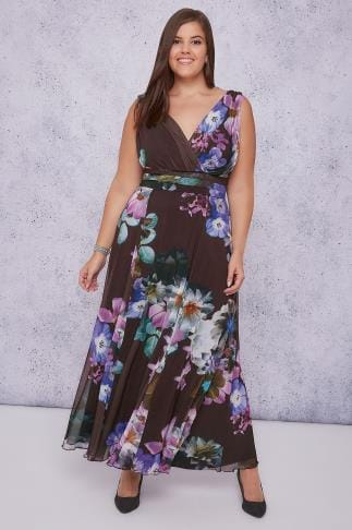 Maxi Dresses SCARLETT & JO Purple & Multi Floral Print Marilyn Wrap Front Maxi Dress 138536