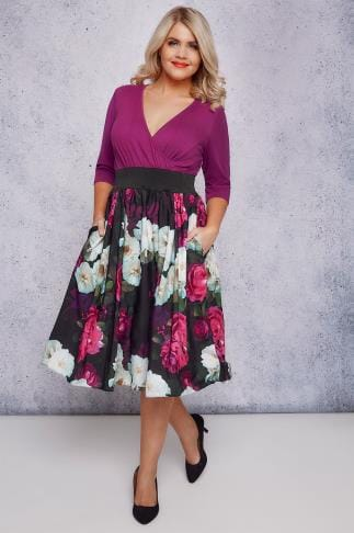 Party Dresses SCARLETT & JO Purple & Multi Floral Wrap Over 2 In 1 Dress 138711