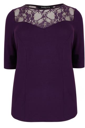 SCARLETT & JO Purple Panelled Top With Lace Cut Out