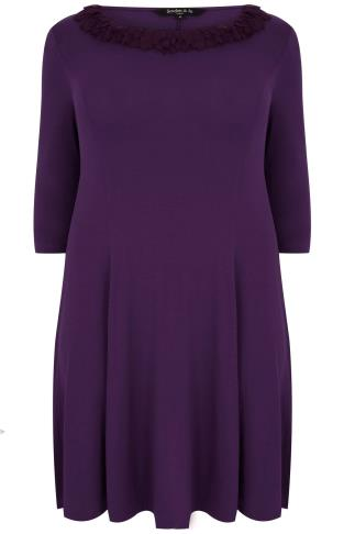 SCARLETT & JO Purple Swing Dress With Leaf Fabric Collar