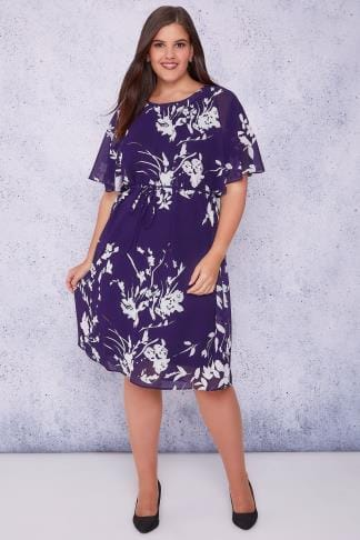Midi Dresses SCARLETT & JO Purple & White Floral Chiffon Midi Dress With Angel Sleeves 138722