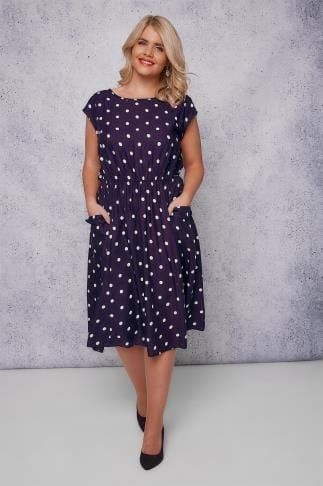 Midi Dresses SCARLETT & JO Purple & White Polka Dot Midi Dress With Pockets 138677