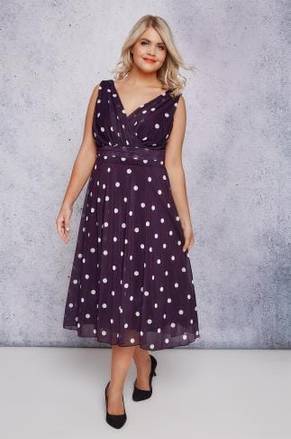 Party Dresses SCARLETT & JO Purple & White Polka Dot Wrap Over Midi Dress 138713