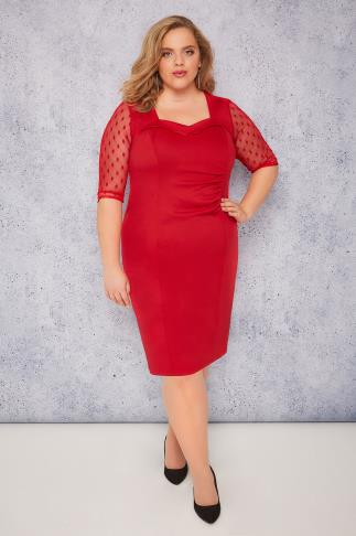 SCARLETT & JO Red Bodycon Dress With Mesh Sleeves & Sweetheart Neck - PETITE
