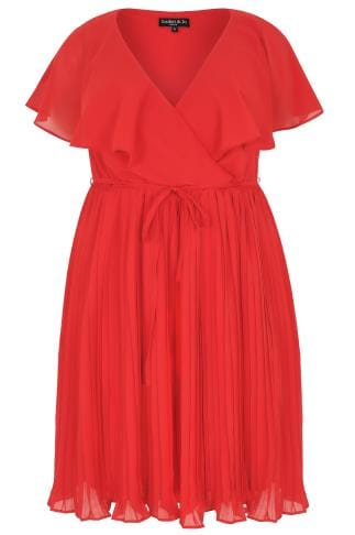 SCARLETT & JO Red Chiffon Pleat Skirt Midi Dress With Cape Detail