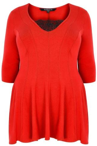 SCARLETT & JO Red Jersey Peplum Top With Lace Trim