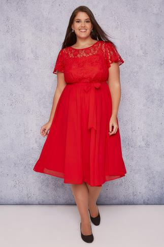 SCARLETT & JO Red Midi Dress With Lace Top & Pleated Skirt 138410