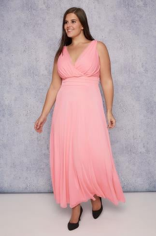 Maxi Dresses SCARLETT & JO Rose Pink Marilyn Wrap Front Maxi Dress 138227