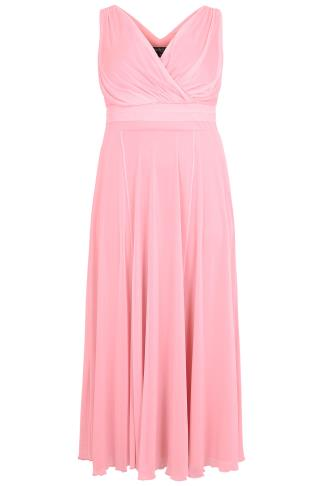 SCARLETT & JO Rose Pink Marilyn Wrap Front Maxi Dress