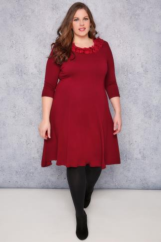 SCARLETT & JO Royal Red Swing Dress With Leaf Fabric Collar