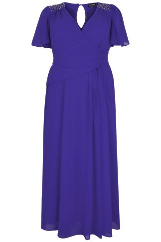 SCARLETT & JO Sapphire Blue Chiffon Maxi Dress With Embellished Shoulders