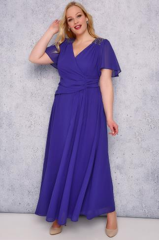 SCARLETT & JO Sapphire Blue Chiffon Maxi Dress With Embellished Shoulders 138307