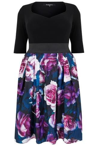 Party Dresses SCARLET & JO Black & Purple Floral Print 2-In-1 Dress With Elasticated Waist 138696