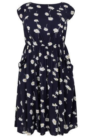SCARLETT & JO Navy Daisy Print Midi Dress With Pockets