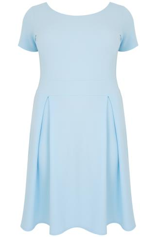 SIENNA COUTURE Baby Blue Sleeved Skater Dress