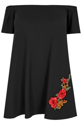 Col bateau SIENNA COUTURE Black Bardot Top With Embroidered Rose 138731