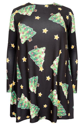 SIENNA COUTURE Black Christmas Tree Novelty Swing Dress