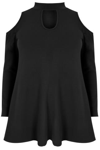 SIENNA COUTURE Black Cold Shoulder Choker Top