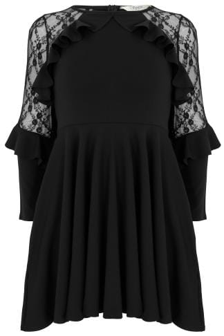 Evasees SIENNA COUTURE Black Lace Sleeve Frilled Skater Dress 138729