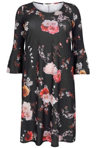 SIENNA COUTURE Black & Multi Dark Floral Swing Dress With Flute Sleeves