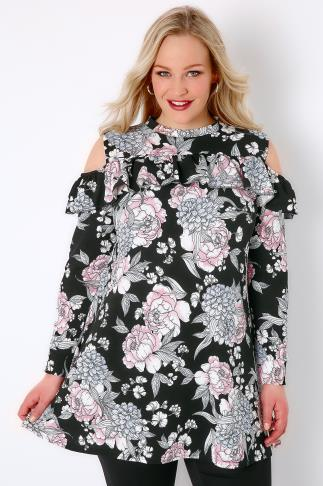 Party Tops SIENNA COUTURE Black & Multi Floral Print Cold Shoulder Top 138296