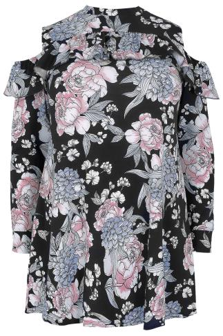 SIENNA COUTURE Black & Multi Floral Print Cold Shoulder Top