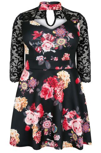 SIENNA COUTURE Black & Multi Floral Skater Dress With Lace Sleeves & Choker Neck 138518