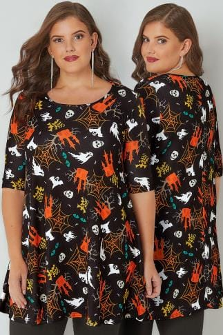 Longline Tops SIENNA COUTURE Black & Multi Halloween Haunted House Print Longline Swing Top 138784
