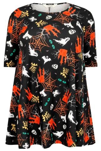 SIENNA COUTURE Black & Multi Halloween Haunted House Print Longline Swing Top