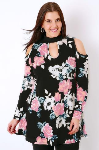 Party Tops SIENNA COUTURE Black & Multi Rose Print Cold Shoulder Choker Top 138288
